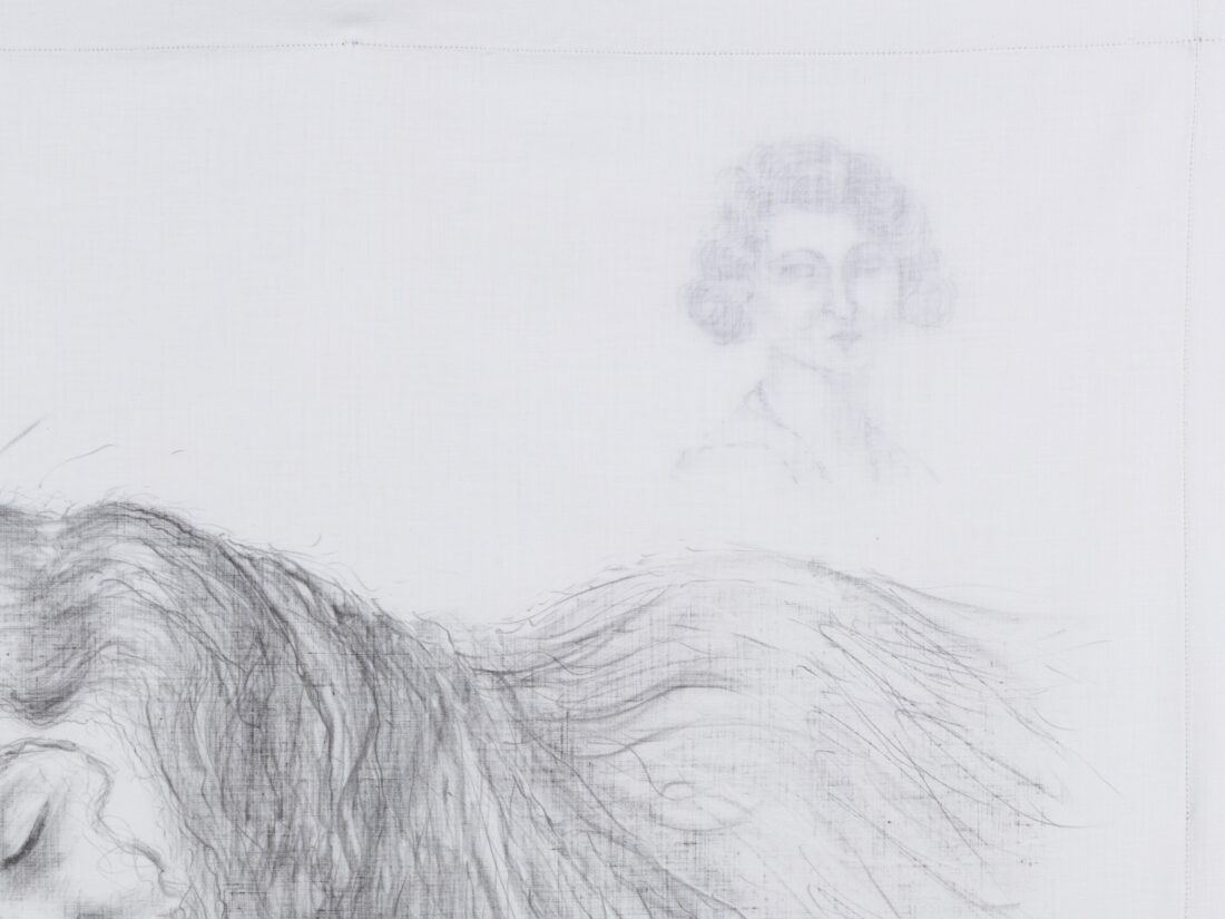 Medium: graphite on vintage cotton pillowcase